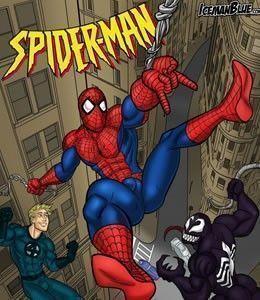 Venom comendo o Homem Aranha e seu amigo